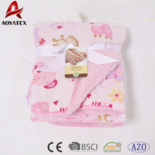 100% polyester double-deck printed micromink sherpa custom baby blankets