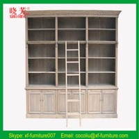 Solid wood book cabinet/vintage storage combination cabinet with ladder (RF003L)