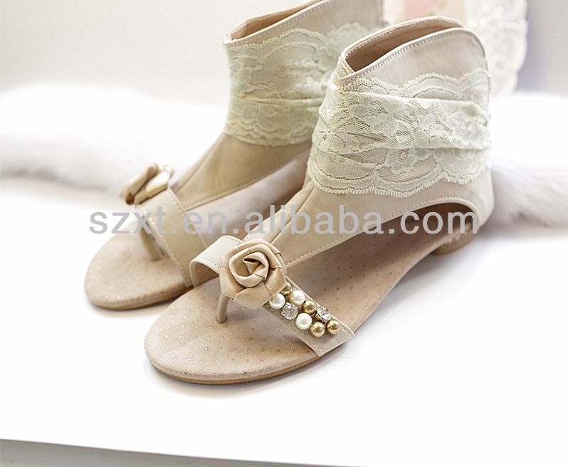 modern latest China manufacturer women flat slipper sandals ankle sandals lace sandals