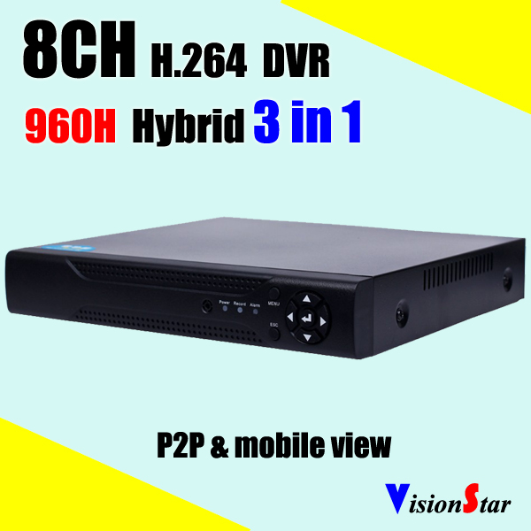 H.264 CCTV DVR 8ch Full D1 real time P2P mobile remote view motion email notifcation HVR NVR Hybrid video recorder