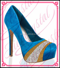 Aidocrystal Royal blue bling glitter womens shoes high heel