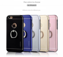 Metal Gold Case for iPhone 5s Aluminum TPU Back Phone Case Motomo Metal Cases for iPhone 6 6s 6s Plus with Ring Holder