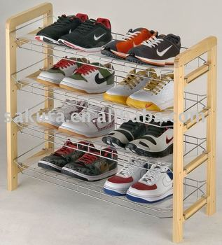 3 tier metal SHOES RACK with wooden stander for housware