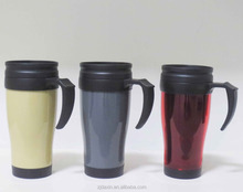 Wholesale different shape insulated plastic coffee mugs with handles