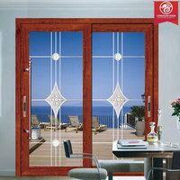 Factory Custom Wood and Glass Storm Sliding Door with Strong Double Glass