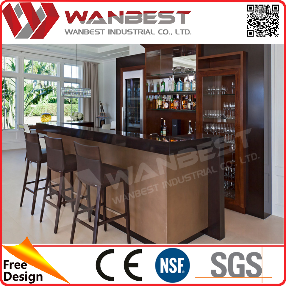 Home bar project design wood wine bar cabinets black artificial marble bar dining counter