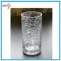 Tube Clear Crackle Glass Tall Cylinder Glass Vase Used Flower Decorage