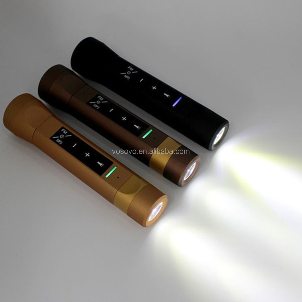 2016 Gold Outdoor speaker Sport MultiFunction Music Torch Power Bank Speaker Handsfree Mic For Sport Bike Music Torch
