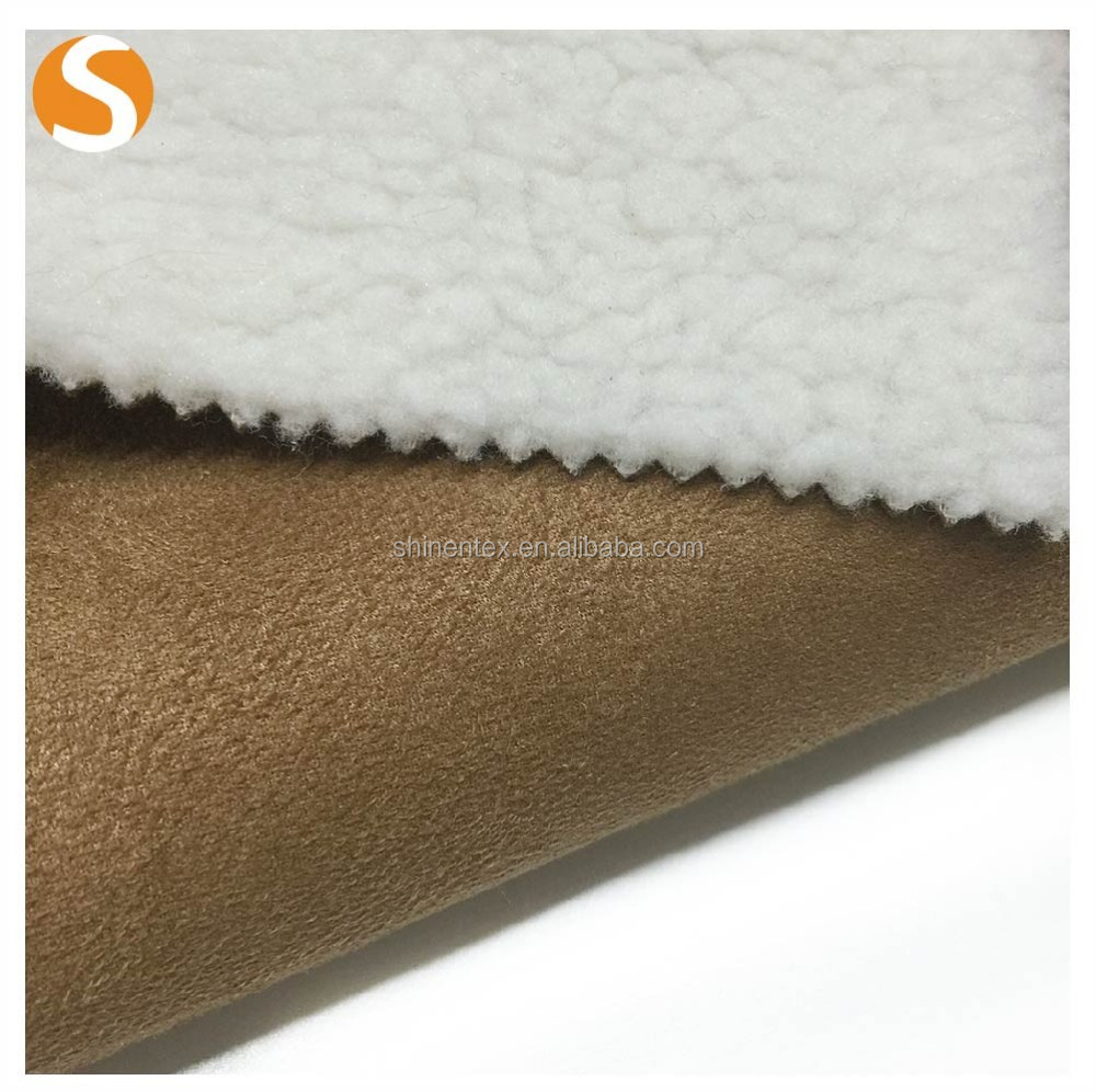 fashion bonded fabric suede lamb wool fabric for warm coat