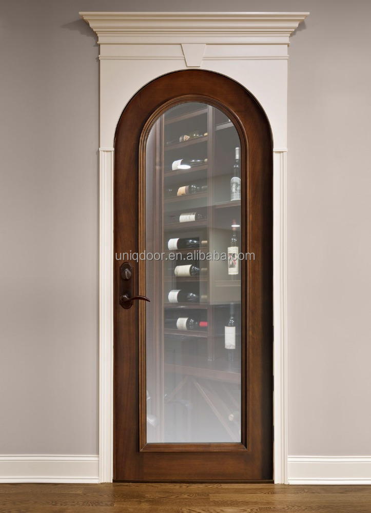 Arch top mahogany wood walnut finished clear beveled glass entry door for wine room