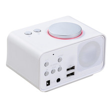 LCD screen radio speaker alarm clock with dual usb phone charger, Line in, snooze