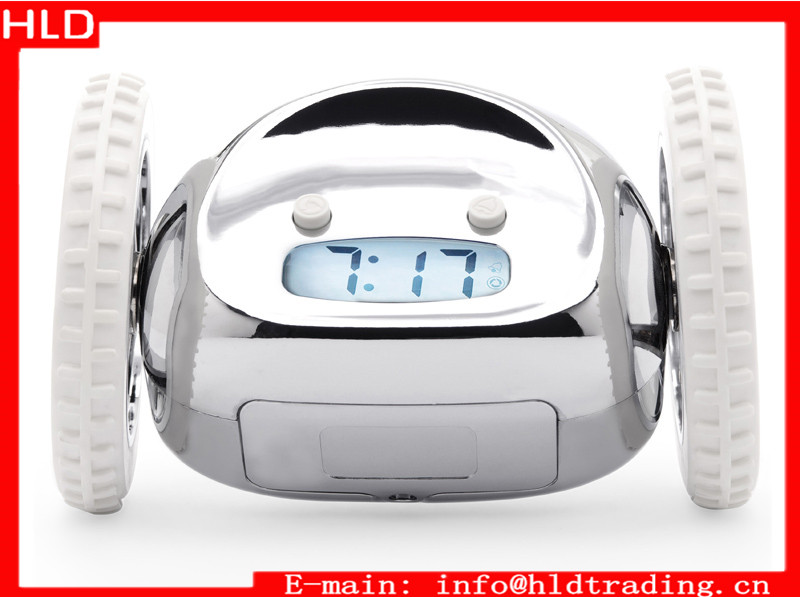 Factory Wholesale 2 Wheels Digital Running Alarm Clock