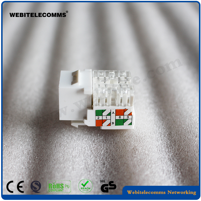 Unshield RJ45 <strong>Network</strong> Cat5e Keystone Jack White Color ABS Material