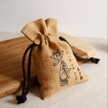 Promotional Jute Pouches , drawstring Jute Bag for rice Jewelry packing