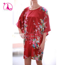 Round collar silk robes Plus Size floral elegant long nightgowns