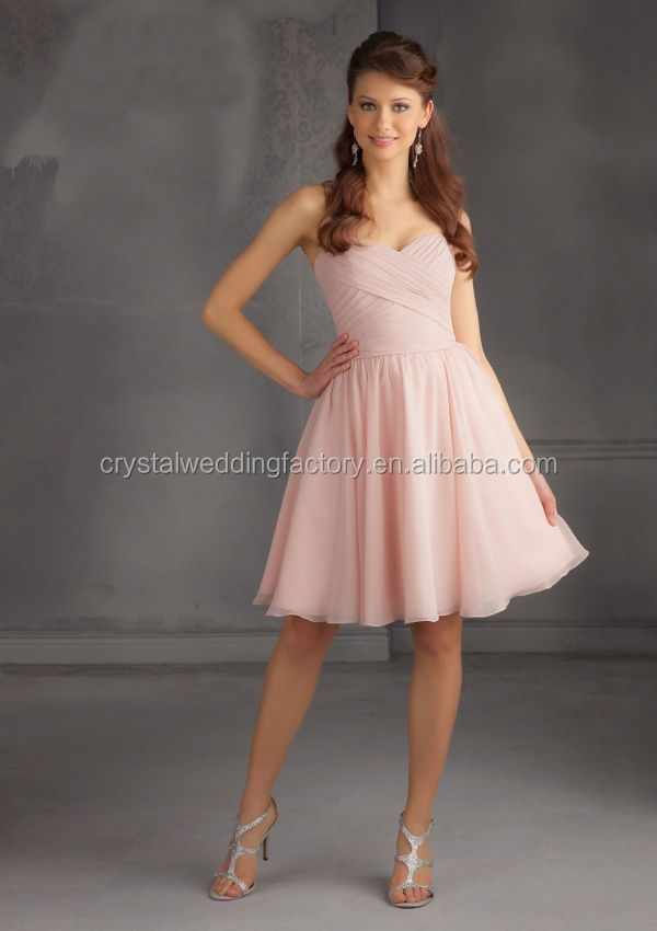 Sweetheart ruched cheap knee length wedding guest dress 2015 light pink bridesmaid dress CWFbb1990