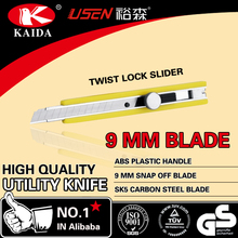 Plastic handle 9mm Blade Cutting Knife Screw-lock slider Stationery Cutter
