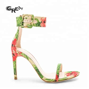 Elegant Open-Toe Ankle Strap Shoes Printing Flower Stiletto High Heel Sandals