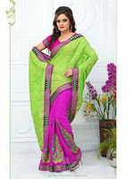 Indian Embroidery Silk Saree With Brocade Patch