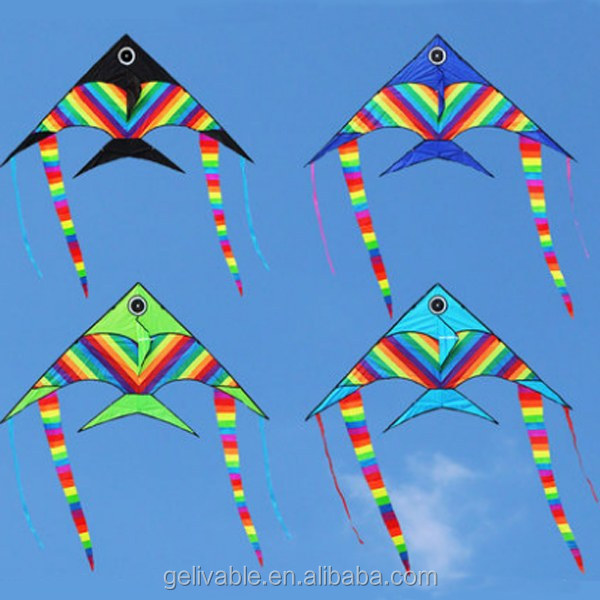 Wholesale large rainbow fish shape kite for sale