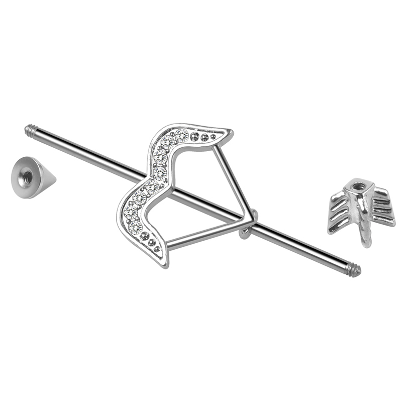 316L stainless steel externally threaded 14g industrial barbell ear piercing samples free shipping