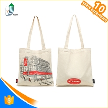 Wholesale cheap design printed recyclable natural canvas cotton fabric shopping hand bag