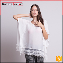 Unique design bat-wing sleeve white women cotton blouse