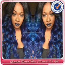 Top quality beauty girbrazilian hair manufacturer blue human hair wig , full lace wig with comb and straps