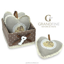 business gift item scented heart sachet with ribbon lace in linen cotton gift box MSDS REACH