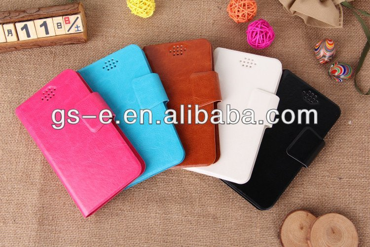 2014 Newest Products wallet leather universal case for iPhone 5s/5/4/4S/S4 Mini/S3 with soft silicon suction cup card slots case