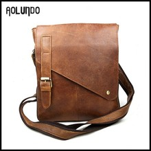 Best selling single strap shoulder top grain leather messenger bag for men shoulder bag