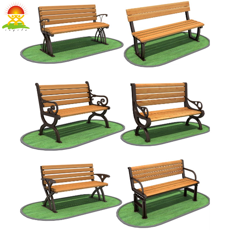 Solid wood garden wood bench chair with cast iron leg in park