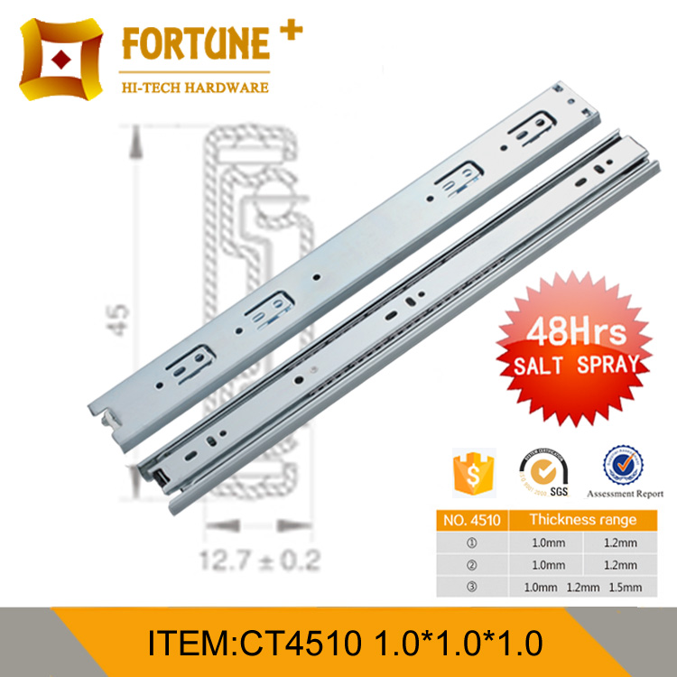 Top quality full extention ball bearing drawer channel for cabinet