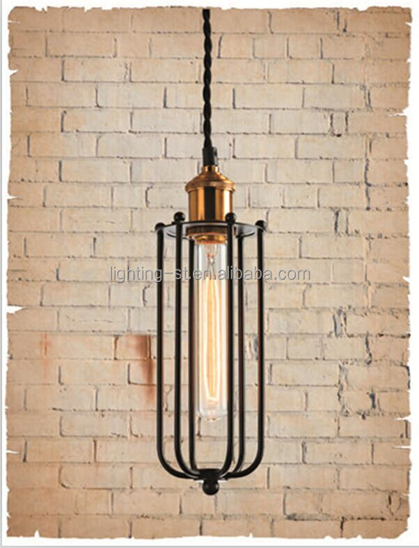 black hight quality long type iron cage hanging lamp for villa,kitchen,senior club