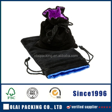Black Satin silk gorgeous small jewelry packing pouch with silk-screen logo