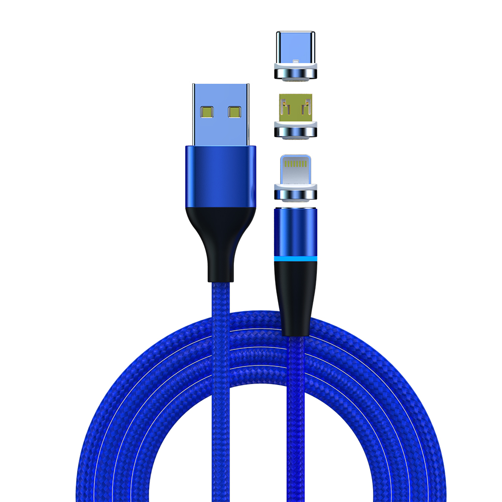 3 in 1 Max 3A Magnetic Data Cable For iPhone / Micro USB / Type C Magnetic Data Cable