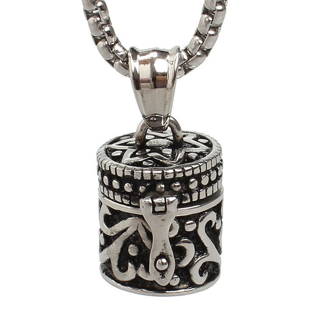 Memorial Jewelry Circular Cylinder Stone Prayer Box Pendant Cremation Urn Ash Necklace