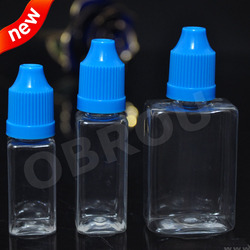 New arrivals 10ml 15ml 30ml plastic PET rectangle e-liquid bottles with childproof cap bottle for e-juice, for e-cig oil