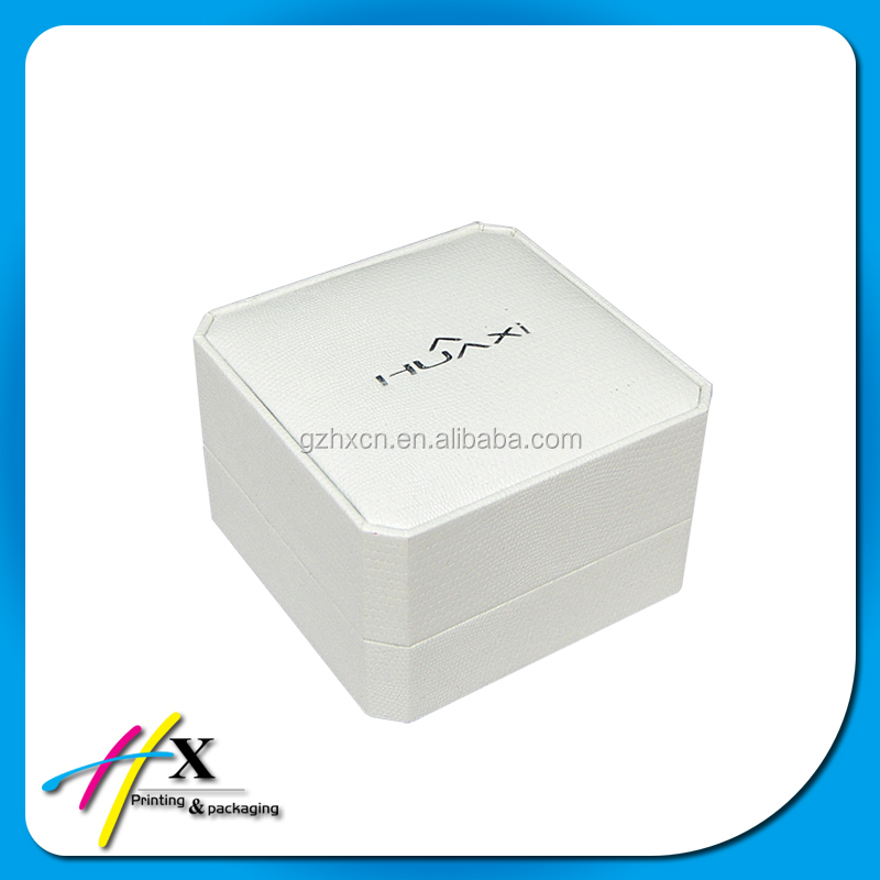 Custom white color plastic circle single wooden watch box with silver hot stamp logo print