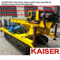 Double rotary head water well drilling rig, double power head drilling rig