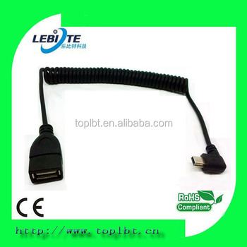 Factory price Sprial coiled Right angle mini USB extension cable