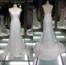 New arrival Yolan Cris spanish designer wedding dress patterns/real sample beaded lace wedding dresses