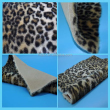 Leopard printing animal fake fur 950g/m brown color 19mm pile AC dyed fabric