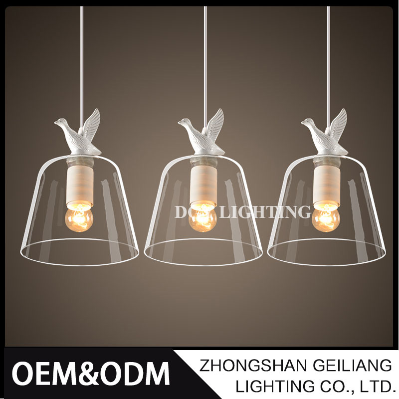 Hanging decorative resin mini ball industrial led glass pendant light