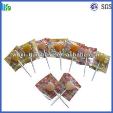 Hot selling hard lollipop mango center filled hard candy fresh breath liquid mints candy