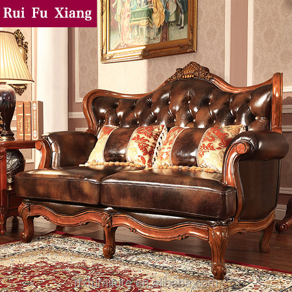 American Antique Style Genuine Leather Solid Wood Sofa Set