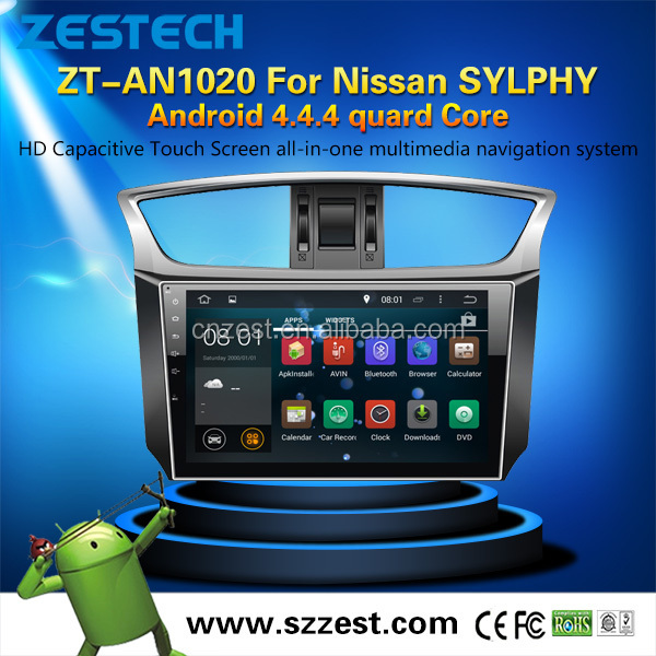 ZESTECH factory 10.2 inch pure Android 4.4.4 Quad-Core car dvd player for Nissan SYLPHY android