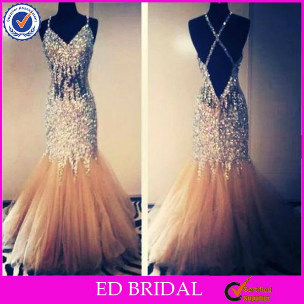 NC130 Sexy See Through Bodice Heavy Beaded Low Back Bling Bling Prom Dress