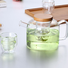 750ml Glass tea pot with Wooden lid with glass infuser,easy carry,both for coffee and tea