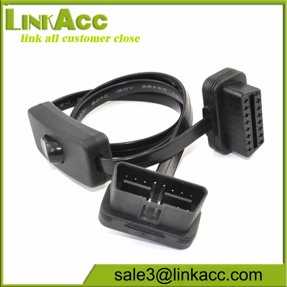 16 pin M/F OBD 2 OBDII Extension Cable With Switch Type Adapter Connector Cord
